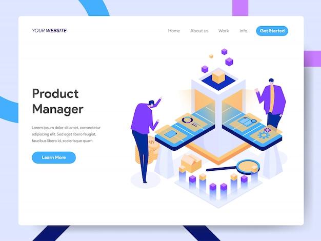 Ilustracja izometryczna digital product manager na stronie internetowej