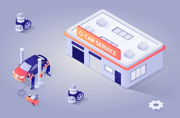 Ilustracja izometryczna dla serwisu lakierniczego auto shop