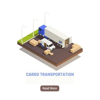 Ilustracja izometryczna dostawy logistycznej dostawy ładunku z tekstem przycisku czytaj więcej i ciężarówką na parkingu