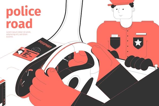 Ilustracja izometryczna drogi i ruchu policji