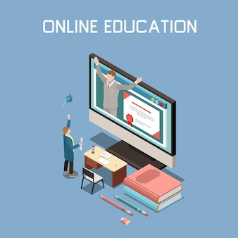 Ilustracja izometryczna edukacji online