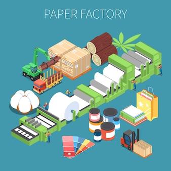 Ilustracja izometryczna fabryki papieru z przenośnikiem surowców drzewnych do prasowania papieru i gotowej produkcji