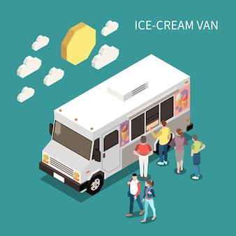 Ilustracja izometryczna furgonetki z lodami z ludźmi stojącymi w pobliżu ciężarówki z jedzeniem, aby kupić słodki produkt