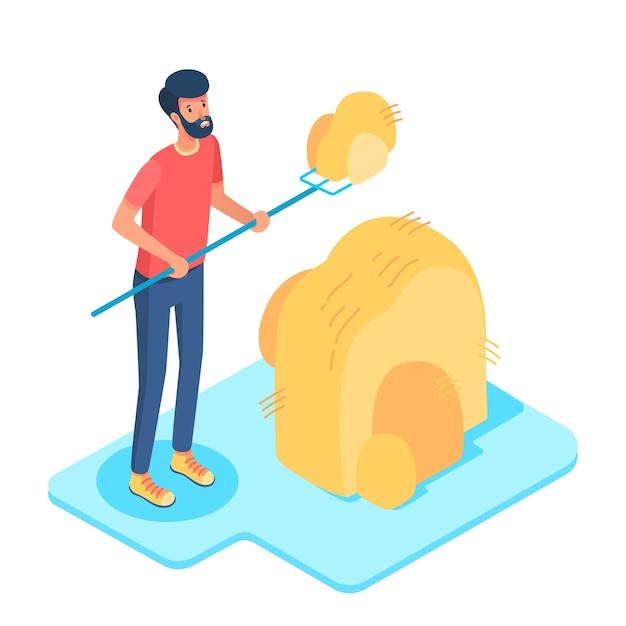 Ilustracja izometryczna gospodarki wiejskiej, szczęśliwy farmer pracujący z postacią z kreskówki widłami.