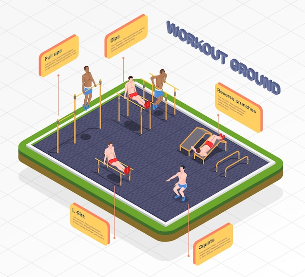 Ilustracja izometryczna infografiki treningu