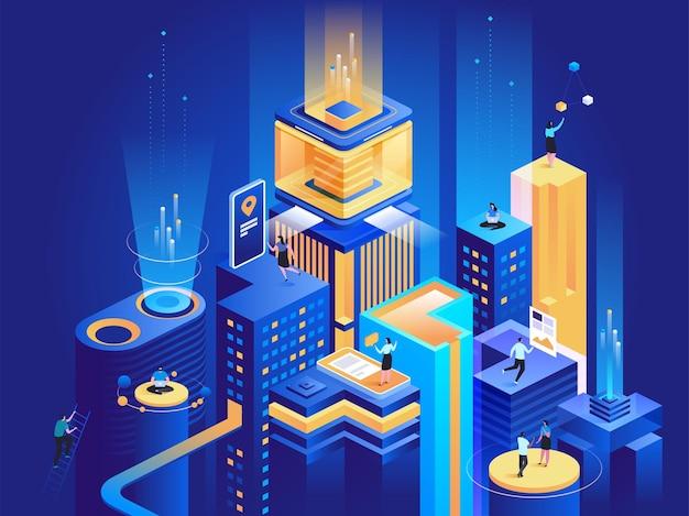 Ilustracja izometryczna inteligentnej platformy biznesowej. biznesmeni i przedsiębiorcy pracujący z laptopami, analizujący wykresy postaci z kreskówek 3d. wirtualne miasto, futurystyczna technologia ciemnoniebieska koncepcja