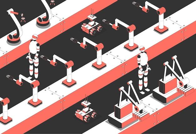 Ilustracja izometryczna inteligentnej produkcji przemysłowej