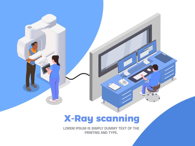 Ilustracja izometryczna kliniki stomatologicznej ze skanowaniem rentgenowskim