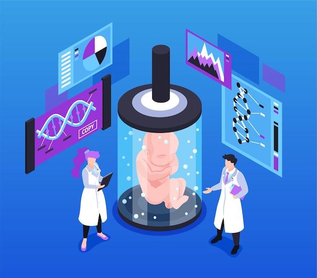 Ilustracja izometryczna klonowania człowieka z embrionem naukowców w szklanej kapsułce medycznej i materiałami ilustracyjnymi do badania struktury ludzkiego dna
