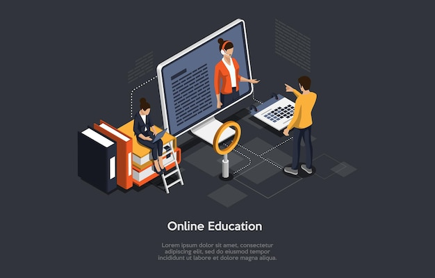 Ilustracja izometryczna. kurs online lub edukacja. zdalne badanie internetu