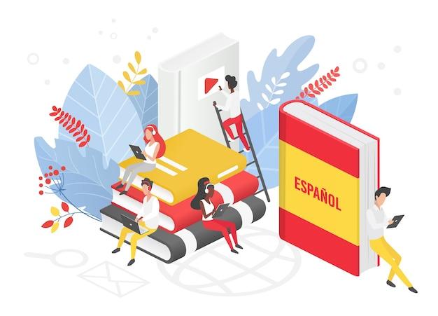 Ilustracja izometryczna kursów języka hiszpańskiego online.