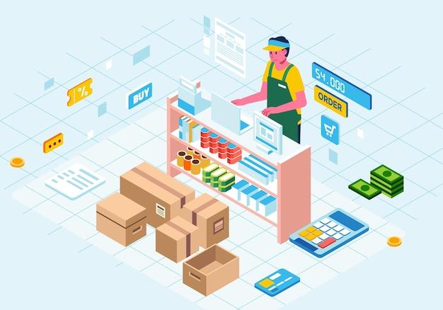Ilustracja izometryczna logistycznego sklepu internetowego, postać mężczyzny jako kasjera za ladą