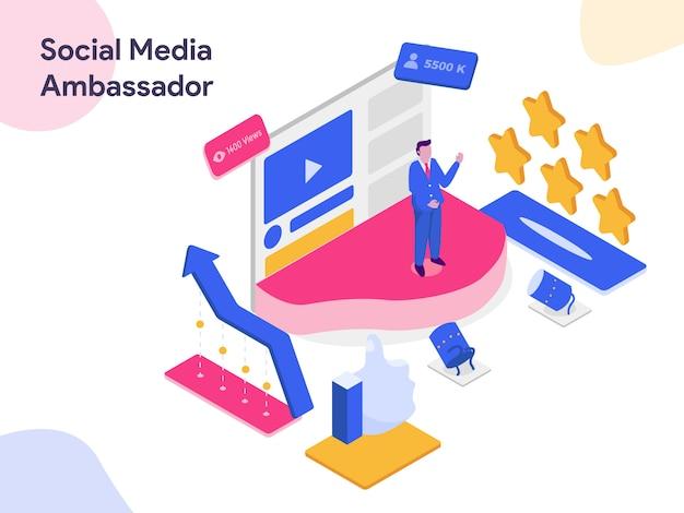 Ilustracja izometryczna mediów społecznościowych ambasadora