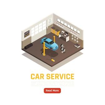 Ilustracja izometryczna naprawy samochodów w garażu z pełnym serwisem samochodowym