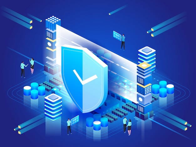 Ilustracja izometryczna nowoczesne technologie, bezpieczeństwo i ochrona danych, bezpieczeństwo płatności