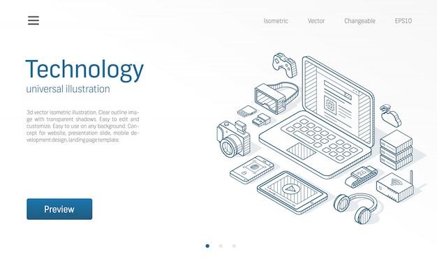 Ilustracja izometryczna nowoczesnej technologii bezprzewodowej. urządzenia do noszenia, laptop, inteligentny zegarek, okulary vr z rozszerzoną rzeczywistością szkic narysowanej ikony. koncepcja technologii danych cyfrowych serwera w chmurze.