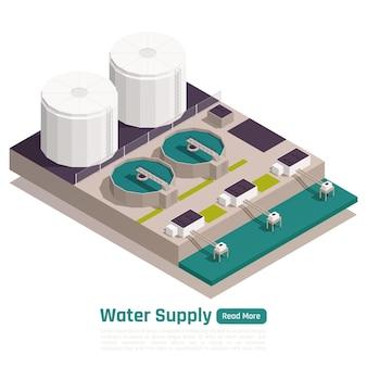 Ilustracja izometryczna obiektu zaopatrzenia w wodę