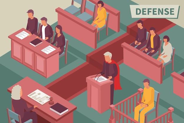 Ilustracja izometryczna obrony z prawnikiem przemawiającym z podium przed sędzią w izometrii sali sądowej