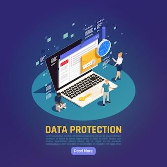 Ilustracja izometryczna ochrony danych osobowych gdpr z edytowalnym tekstem przycisku czytaj więcej i laptopem z ludźmi
