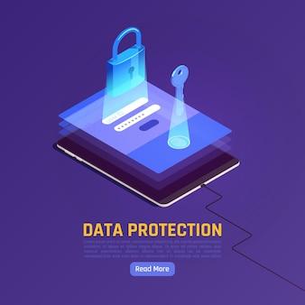 Ilustracja izometryczna ochrony danych osobowych gdpr z gadżetem i stosem ekranów z kluczem i zamkiem