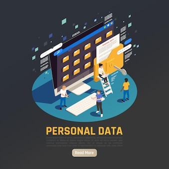Ilustracja izometryczna ochrony danych osobowych gdpr z komputerem stacjonarnym z folderami ludzie i przycisk czytaj więcej