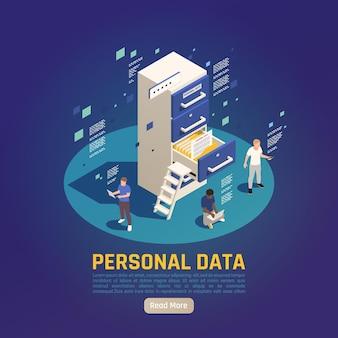 Ilustracja izometryczna ochrony danych osobowych gdpr z postaciami czytelników na półkach i przyciskiem czytaj więcej