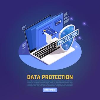 Ilustracja izometryczna ochrony danych osobowych gdpr z przyciskiem czytaj więcej i laptopem z tarczą