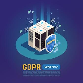 Ilustracja izometryczna ochrony danych osobowych gdpr z serwerami danych z przyciskiem tarczy i tekstem