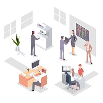 Ilustracja izometryczna osób biurowych w pracy