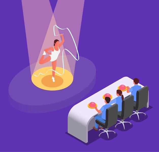 Ilustracja izometryczna pokazu talentów telewizyjnych