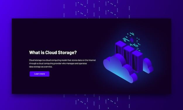 Ilustracja izometryczna połączenie z chmurą centrum danych hostujące informacje o komputerze serwera