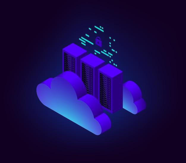 Ilustracja izometryczna połączenie z chmurą centrum danych