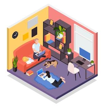 Ilustracja izometryczna pracy zdalnej z domu