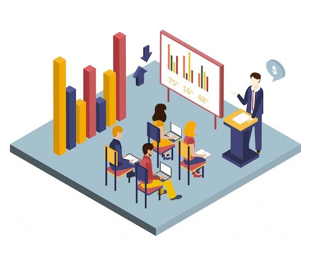 Ilustracja izometryczna prezentacji lub spotkania