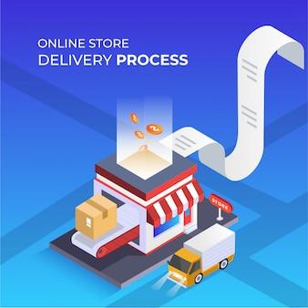 Ilustracja izometryczna procesu dostawy w sklepie internetowym
