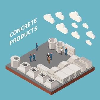 Ilustracja Izometryczna Produkcji Betonu Darmowych Wektorów