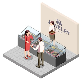 Ilustracja izometryczna produkcji biżuterii