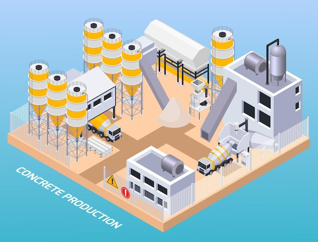 Ilustracja izometryczna produkcji cementu betonowego