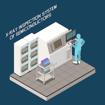 Ilustracja izometryczna produkcji chipów półprzewodnikowych