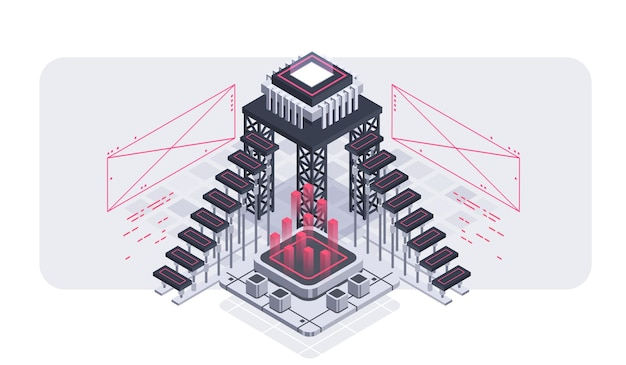 Ilustracja izometryczna programowania i tworzenia oprogramowania