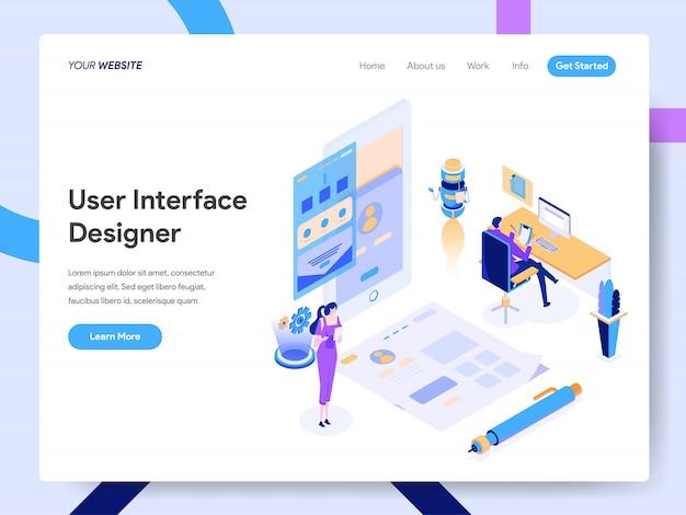Ilustracja izometryczna projektanta interfejsu użytkownika dla strony internetowej