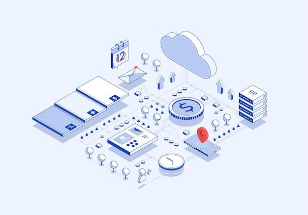 Ilustracja izometryczna przepływu zintegrowanego systemu danych w chmurze