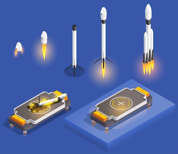 Ilustracja izometryczna rakiet i statków kosmicznych