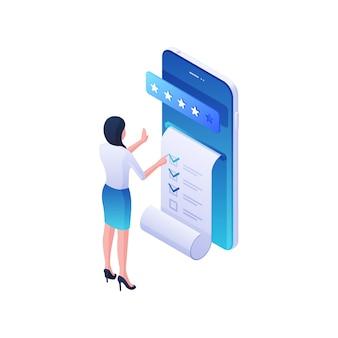 Ilustracja izometryczna raportu aplikacji mobilnej online. postać kobieca przeprowadza testy aplikacji na smartfonie i ocenia ocenę. prawidłowe dostarczanie danych i kwalifikowana koncepcja wsparcia.