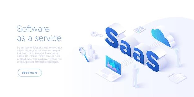 Ilustracja izometryczna saas. oprogramowanie jako usługa lub projekt tła koncepcyjnego na żądanie. metafora segmentu przetwarzania w chmurze. szablon układu banera witryny sieci web.