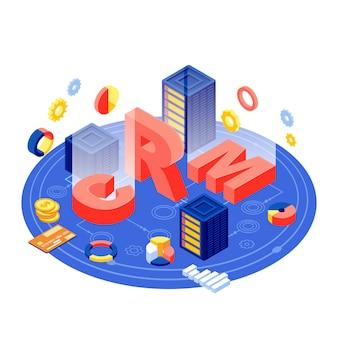 Ilustracja izometryczna serwera crm. oprogramowanie do zarządzania relacjami z klientem. baza danych klientów i technologia cyfrowa automatyzacji biznesu. e-commerce, marketingowe przechowywanie danych i analityka koncepcja 3d