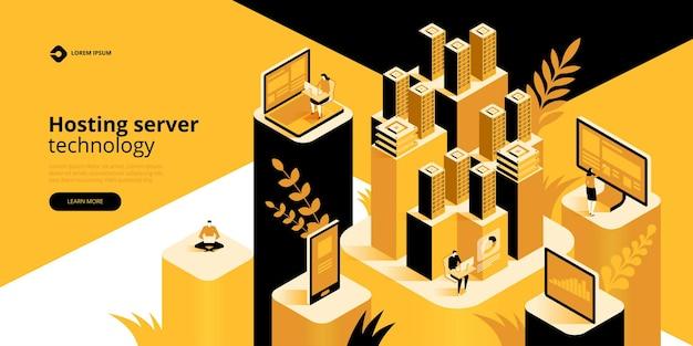 Ilustracja izometryczna serwera hostingowego