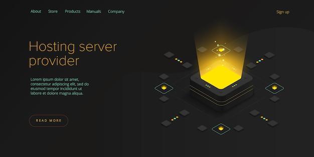 Ilustracja izometryczna serwera hostingowego.