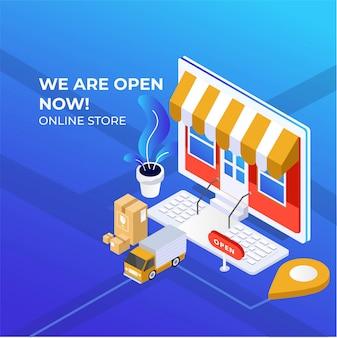 Ilustracja izometryczna sklepu cyfrowego z elementami