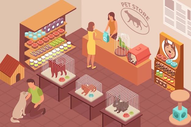 Ilustracja izometryczna sklepu zoologicznego